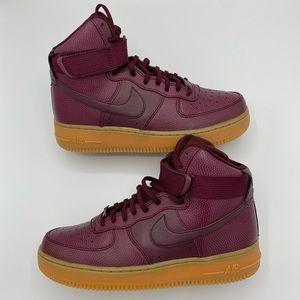 """Women's Nike Air Force 1 High SE """"Maroon Gum"""" Sz 8"""